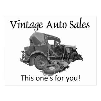 Vintage Auto-Verkäufe, Postkarte