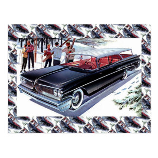 Vintage Autowerbung, Skifahren durch Auto Postkarte