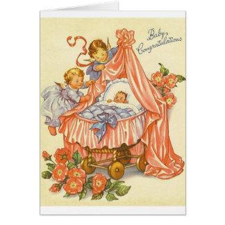 Vintage Baby-Glückwunsch-Gruß-Karte Grußkarte