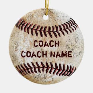 Vintage Baseballtrainer-Geschenk-PERSONALISIERTE Rundes Keramik Ornament
