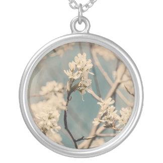 Vintage Baum-Blumen Versilberte Kette