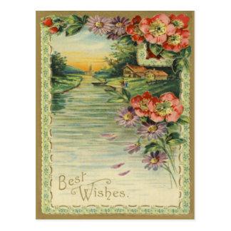 Vintage beste Wunsch-Postkarte Postkarte