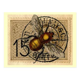 Vintage Bienen-Collage Postkarte
