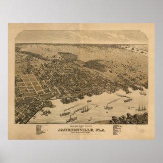 Vintage bildhafte Karte von Jacksonville Florida Poster