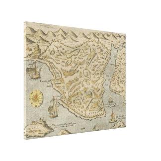 Vintage bildhafte Karte von Konstantinopele (1620) Leinwand Druck