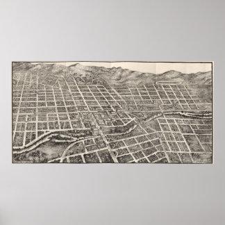 Vintage bildhafte Karte von Reno Nevada (1907) Poster