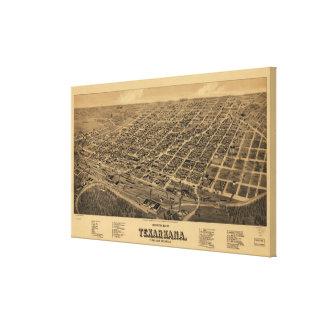 Vintage bildhafte Karte von Texarkana (1888) Leinwand Drucke