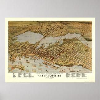 Vintage bildhafte Karte von Vancouver BC (1898) Poster
