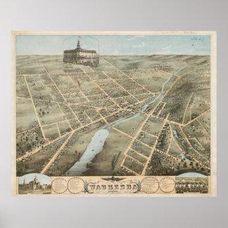 Vintage bildhafte Karte von Waukesha Wisconsin Poster