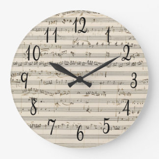 Vintage Blatt-Musik mit Zahlen Uhr
