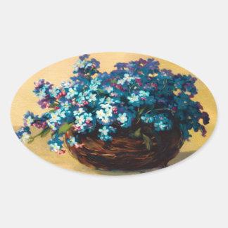 Vintage Blau Blumen Ovaler Aufkleber