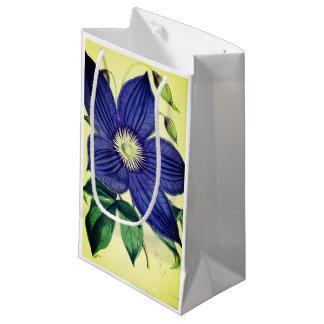Vintage blaue Clematis-Blumen-Geschenktasche Kleine Geschenktüte
