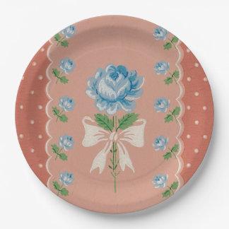 Vintage blaue Rosen-Koralle punktiert Pappteller