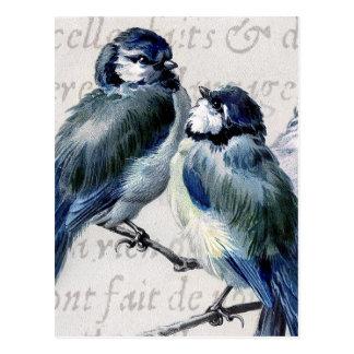 Vintage blaue Vogel-Collage - kundengebundene Postkarte