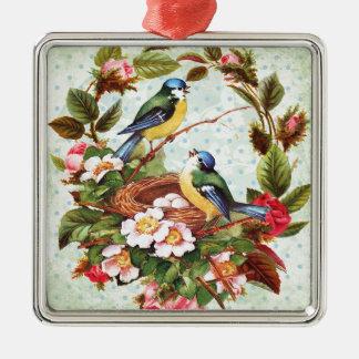 Vintage blaue Vögel und Blumen Quadratisches Silberfarbenes Ornament