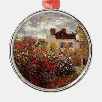 Vintage Blumen monet Garten-in-Argenteuilsonne Rundes Silberfarbenes Ornament