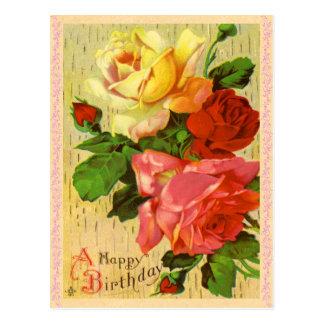 Vintage Blumengeburtstags-Postkarte Postkarten