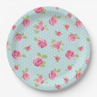 Vintage Blumenpapierplatten-Shabby Chic-Rosen Pappteller