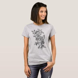 Vintage botanische Linie Kunst-Zeichnen der Rosen T-Shirt