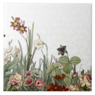 Vintage botanischer Garten-Blumen-Keramik Trivet Fliese