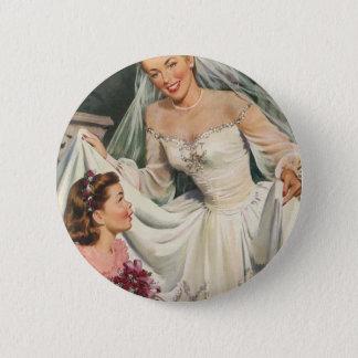 Vintage Braut mit Blumen-Mädchen an ihrem Runder Button 5,7 Cm