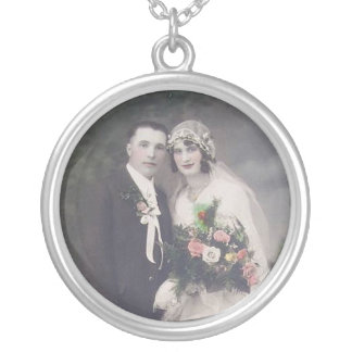 Vintage Braut-u. Bräutigam-romantische Versilberte Kette