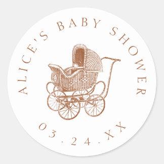 Vintage Brown-Kinderwagen-Baby-Dusche Runder Aufkleber