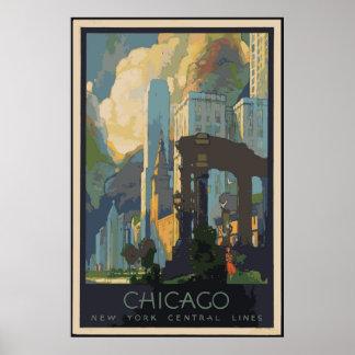 Vintage Chicago-Reise-Plakate 24x36 Poster