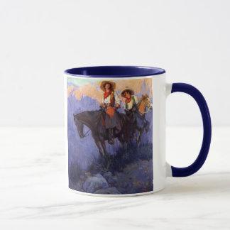 Vintage Cowboys, Mann und Frau auf Pferden, Tasse