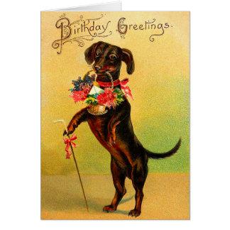 Vintage Dackel-Geburtstags-Karte Karte