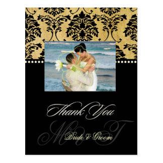 Vintage Damast-Hochzeit danken Ihnen Postkarten