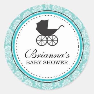 Vintage Damast-Kinderwagen-Baby-Dusche Runder Aufkleber