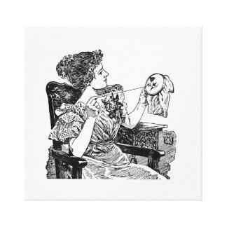 Vintage Dame Embroidery Galerie Gefaltete Leinwand