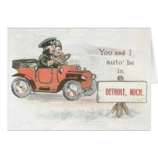 Vintage Detroit-Auto-Anmerkungskarte Karte