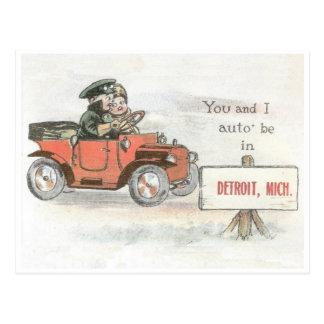 Vintage Detroit-Auto-Postkarte Postkarten
