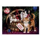 Vintage die frohen Weihnacht-Postkarte der Katze Postkarte