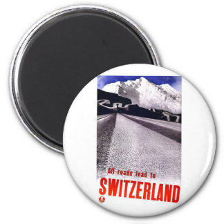 Vintage die Schweiz-Straßen Runder Magnet 5,7 Cm
