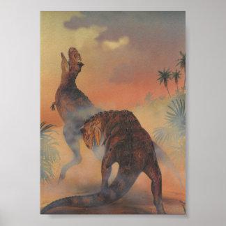 Vintage Dinosaurier, Carnotaurus, der im Dschungel Poster