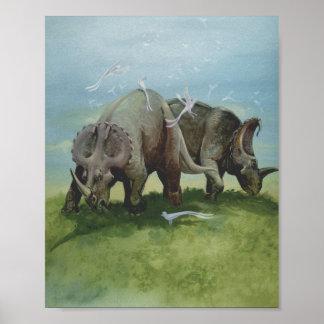 Vintage Dinosaurier, Centrosaurus, der in der Poster