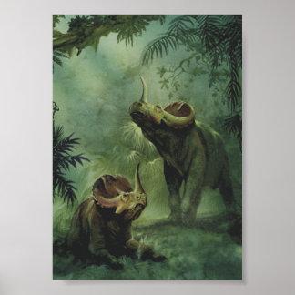 Vintage Dinosaurier, Centrosaurus im Dschungel Poster