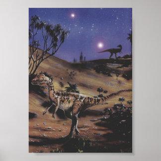 Vintage Dinosaurier, Dilophosaurus auf einer Poster