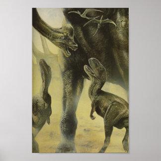 Vintage Dinosaurier, Torvosaurus und Brachiosaurus Poster