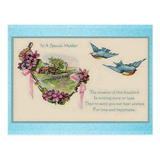 Vintage Drosseln der Mutter Tages Postkarte