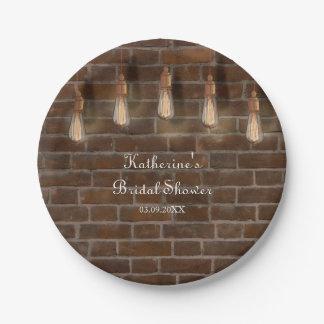 Vintage Edison-Glühlampenindustrielle Chic-Dusche Pappteller