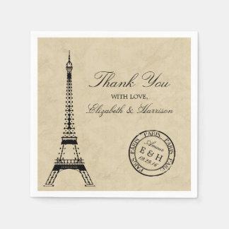 Vintage Eiffel-Turm-Paris-Poststempel-Hochzeit Papierservietten