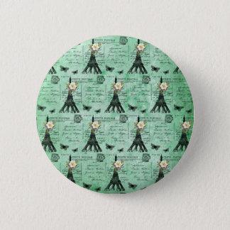Vintage Eiffel-Turm-Postkarten auf Grün Runder Button 5,1 Cm