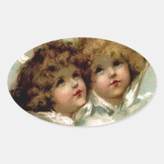 Vintage Engel Ovaler Aufkleber