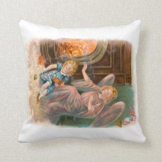 Vintage Engel Schutzengel Mädchen und Feuer Kissen