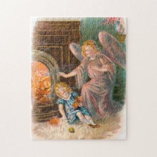 Vintage Engel Schutzengel Mädchen und Feuer Puzzle