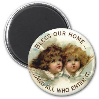 Vintage Engel segnen unser Zuhause Runder Magnet 5,7 Cm